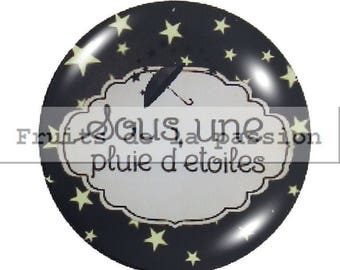 1 cabochon 25mm celestial, moon, stars round glass