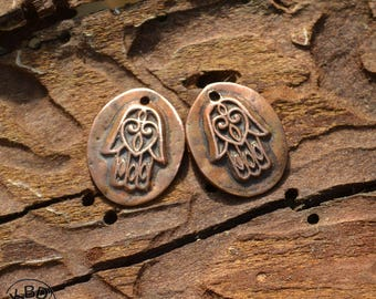 Copper Hamsa Oval Component (1 pair) #364