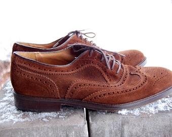 Vintage BARNEYS Brown Suede LEATHER Lace Up Men's Dress Shoes New York Wingtip Bluchers
