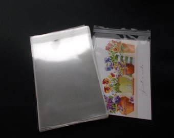 "100 Clear Cello Bags, For 4x6 Card, 4 1/4"" x 6 1/8"", Resealable Clear Plastic Sleeves, Acid Free Envelopes for Journal Cards Photo, Print"