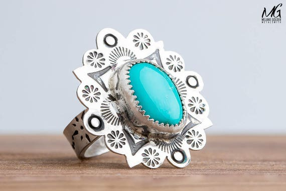 Aqua Blue Nevada Fox Turquoise Gemstone Ring in Sterling Silver with Stamped Flower Border - Size 6.5