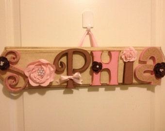 Custom Kids Name Sign - Nursery Wall Letters Name Sign - Custom Children's Shabby Chic Name Plaque 6 Letters