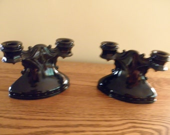 L E Smith Black Amethyst Double Candleholders - Pair