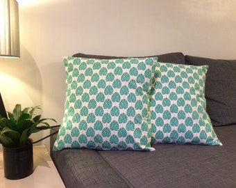 Green palm leaves pillow cover