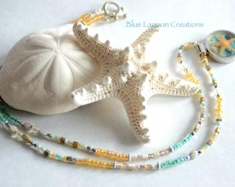 Funky Boho Shell Necklace, Ocean tones