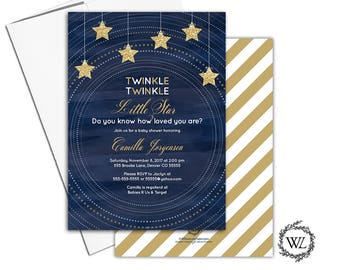 navy and gold invitation, twinkle twinkle little star baby shower invitations gender neutral baby shower invite printable printed - WLP00754