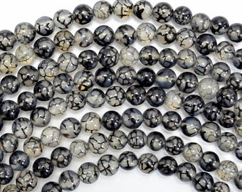 "6mm black dragon vein agate round beads 15"" strand 38040"