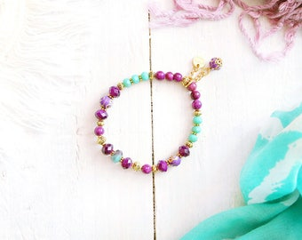 Shéhérazade bracelet, elastic wire, beads gold, purple, mauve, turquoise and mint, charm, Arabian Nights, for women