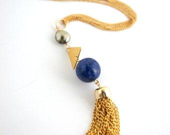 Long Gold Tassel Necklace, Geometric Necklace, Long Stone Necklace, Layer Necklace, Boho Long Necklace, Long Pendant Necklace