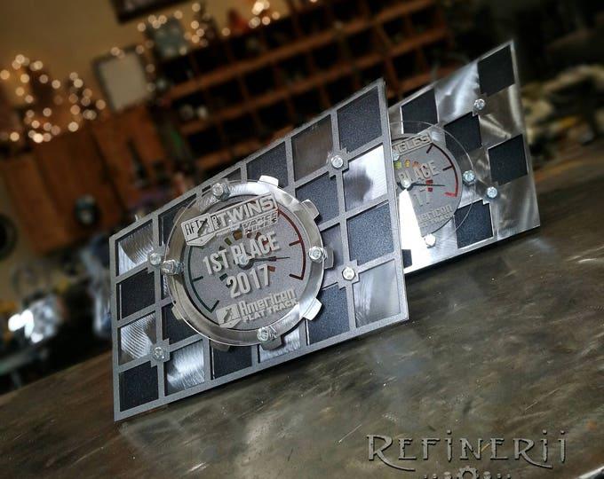 Checkered Flag Metal Custom Race Award Trophy