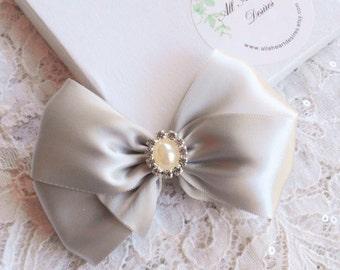 Light Silver Satin Hair Bow, Pearl Rhinestone Center, Silver Flower Girl Hair Bow, Holiday Sparkle Hair Bow, Christmas Hair Bow, Pageant Bow