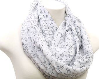White Mathematics Pattern Infinity Scarf Print Scarf Women math scarf Summer Fall math Scarf Gift for her engineer scientist teacher nerd