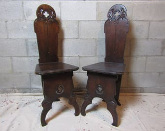 Pair Gothic Revival Carved & Pierced Hall Chairs