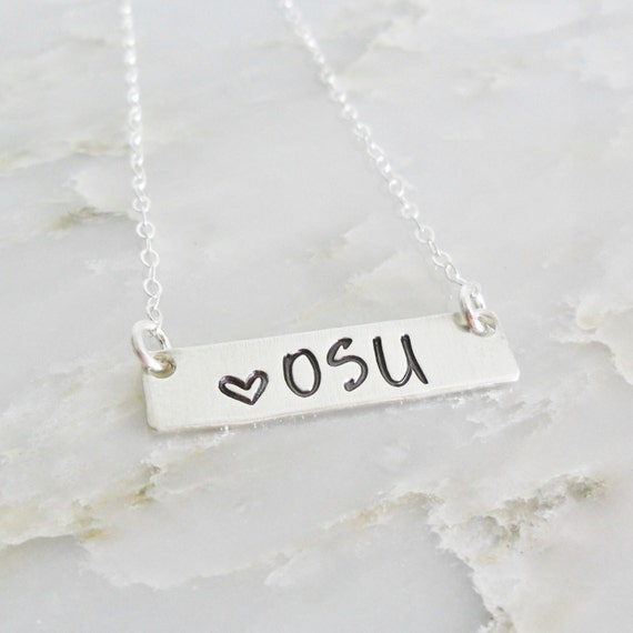 OSU Jewelry - Ohio State Necklace - OSU Fan - Gift for College Student - Custom College Necklace - Sterling Silver Bar Necklace