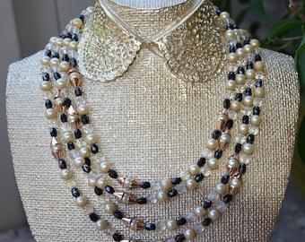 Vintage Multi-strand  Plastic Necklace Statement