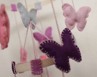 Mobile to hang with lilac and pink butterflies