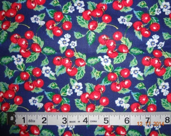 "Cherry Fruit Print Cotton Fabric Remnant - Approx. 21"" x 42"""