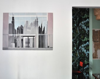 """Oil painting architecture Reflections from the Series """"Reflections"""" by Wolf Magin"""