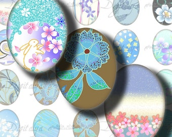 Digital Collage Sheet - Japanese Design Blues (1) Ovals 30 different motifs 63 Tiles 18x25mm - .70x.98 inch - See Promo Offer