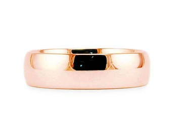 6mm Solid 14k Rose Gold Band // Plain Classic Shiny Comfort Fit Wedding Band // Simple Men's Women's Ring // All Sizes // High Polish Finish