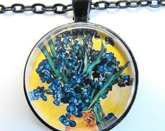 van Gogh BLUE IRISES in JUG Necklace --  Vincent van Gogh still life,  Post-Impressionist art of the 1880s, Friendship token
