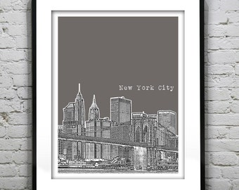 New York City Skyline Art Print Poster NYC Brooklyn Bridge Manhattan  Item T1008