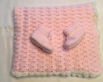 Handmade Pink Baby Blanket and Booties