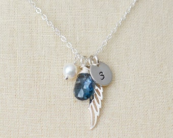 Gurdian Angel Necklace with a Birthstone, Pearl & Initial Disc, Personalized Necklace, Silver Necklace, Angel Wing, Bridesmaid Gift (0054N)