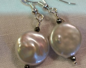 Natural Coin Pearls With Hematite and Sterling Silver...