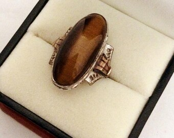 Art Deco Clark & Coombs Tiger Eye Ring in Silver and 10K GF