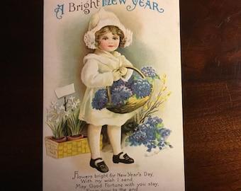 Vintage Embossed Ellen Clapsaddle New Year Postcard