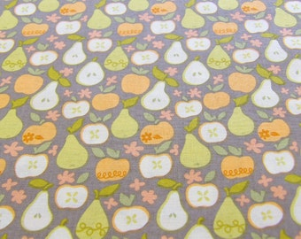 Quilting cotton with print of oranges, apples and pears, cotton fabric, cute fruit print fabric