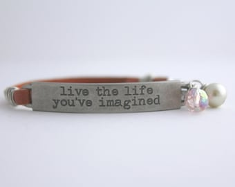 Quote Bracelet, Inspiration Bracelet, Friendship Bracelet, Positive Quote, Message Bracelet, Leather Bracelet, Quote Jewelry,Mantra Bracelet