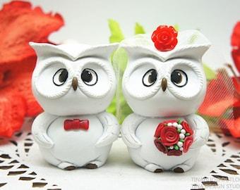 Owl Wedding Cake Toppers Red Theme,Christmas Wedding Cake Toppers Owl Themed Free Shipping