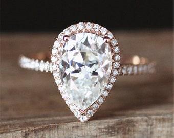 8*12mm Forever Brilliant Pear Cut Moissanite Engagement Ring Half Eternity Halo Diamonds Ring 14K Rose Gold Ring Stackable Moissanite Ring