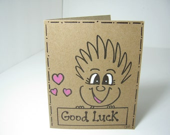 "Greeting Card PinHead Happy Face ""Good Luck"""