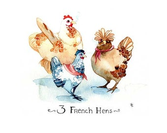 Three French Hens- Handmade Card