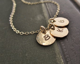 Three gold initial necklace Custom initials Monogram necklace Personalized gold necklace Family necklace Gold filled initial disc necklace,