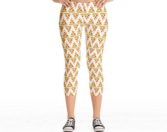 Pizza - Leggings Capri or Full Length - Pepperoni Cheese Pizzas Pattern Fun Gifts Yoga Pants Foodie Food Lover Gift Slices Pizza Slice Yummy