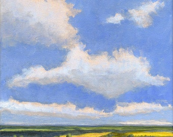 Beautiful Day - Original Landscape Painting Spring 8x8 Blue Green Yellow Sky Clouds