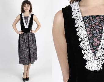 Gunne Sax Dress 80s Dress Black Dress Velvet Dress Jessica McClintock Vintage Dress Calico Floral Crochet Lace Renaissance Midi Maxi Dress S