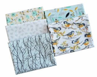 Woodland Floral & Birds Fabric Bundle, 3 Wishes Fabric, Songbirds Collection,  Fat Quarter Bundle, 1/2 Yard or 1 Yard Bundle of 5, Cotton