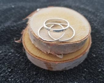 Argentium Stacking Set, Silver Stacking Rings, Hammered Argentium Silver Ring Set, SPRING RINGS SET