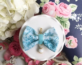 Webster's Love Story Teal Flowers Bow