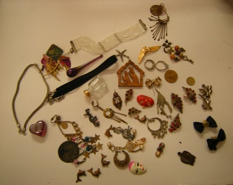 vtge destash jewelry lot-better choice-supply-art-crafts-assemblage-projects-FREE SHIPPING