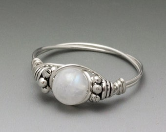 Rainbow Moonstone Bali Gemstone Sterling Silver Wire Wrapped Bead Ring - Made to Order, Ships Fast!