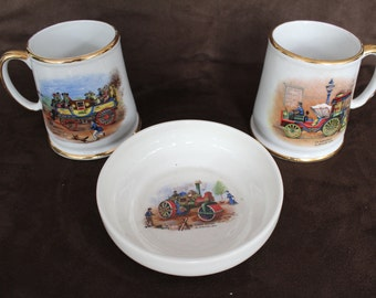 A pair of Vintage Steam Train cups and a dish, James Kent England ,lovely condition, steam trains. vintage trains.