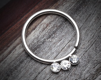 Triple Gem Sparkle Bendable Twist Hoop Ring