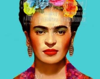 Very Feminine Frida Kahlo Fabric Patch Block Altered Art Antique Photo FK230