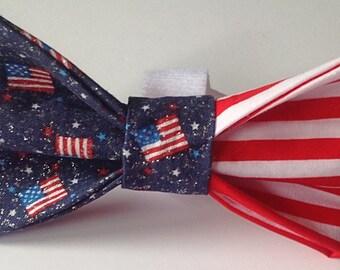 Patriotic Dog and Cat  Collar Bow Tie